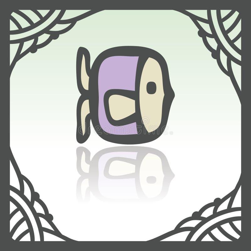 Ícone dos peixes crus do esboço do vetor Logotipo infographic moderno e pictograma ilustração do vetor