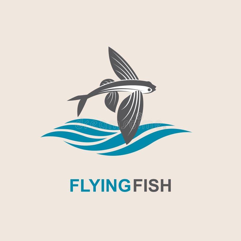 Ícone dos peixes de voo ilustração royalty free