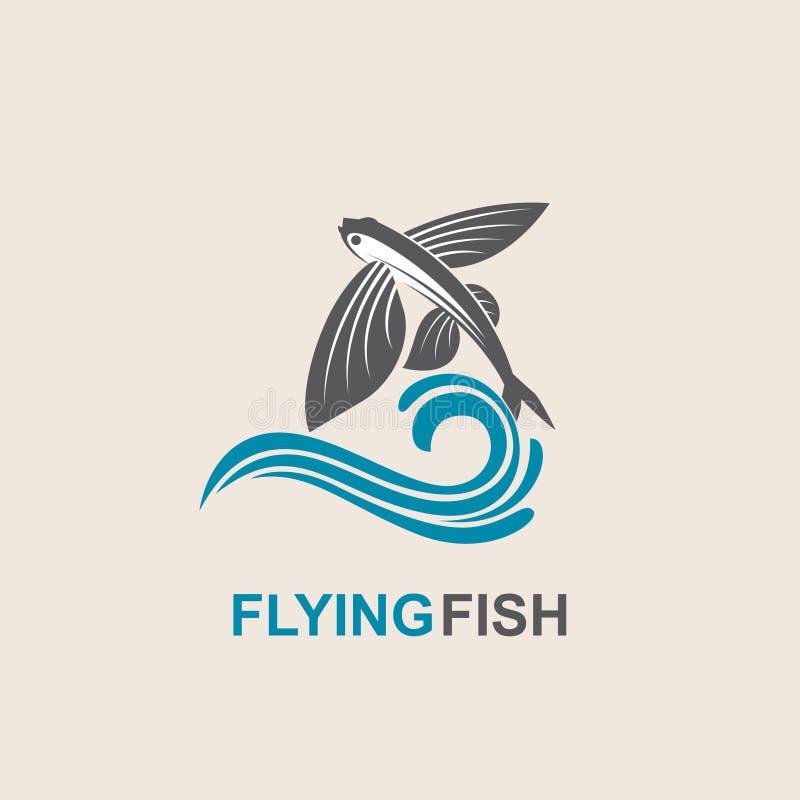 Ícone dos peixes de voo ilustração stock