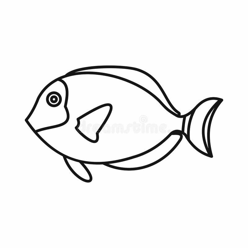 Ícone dos peixes do cirurgião, estilo do esboço ilustração do vetor