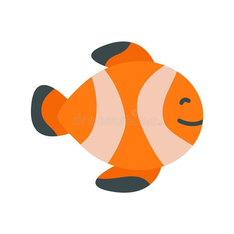 Ícone dos peixes do nemo do palhaço Ilustração lisa o vetor colorido isolou ícones do tema tropical do verão para a Web ilustração do vetor