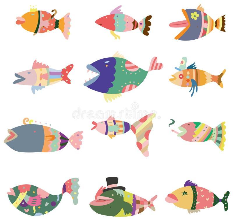 Ícone dos peixes do teste padrão dos desenhos animados ilustração royalty free