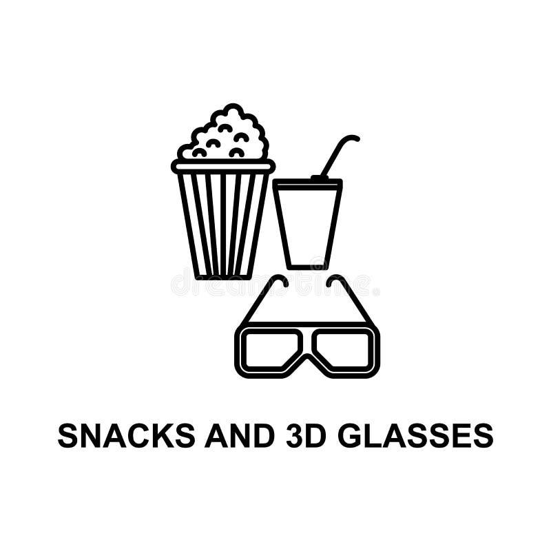 ícone dos petiscos e dos vidros 3d Elemento do cinema para apps móveis do conceito e da Web A linha fina petiscos e o ícone dos v ilustração stock