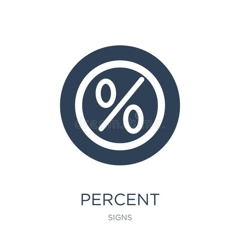ícone dos por cento no estilo na moda do projeto Ícone dos por cento isolado no fundo branco símbolo liso simples e moderno do íc ilustração do vetor