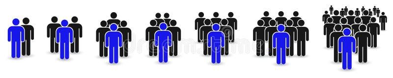Ícone dos povos ajustado no estilo liso na moda Projeto do Web site do infographics do símbolo das pessoas, logotipo, app, UI iso ilustração royalty free