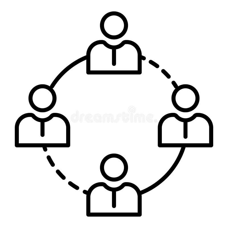 Ícone dos povos da coesão, estilo do esboço ilustração stock