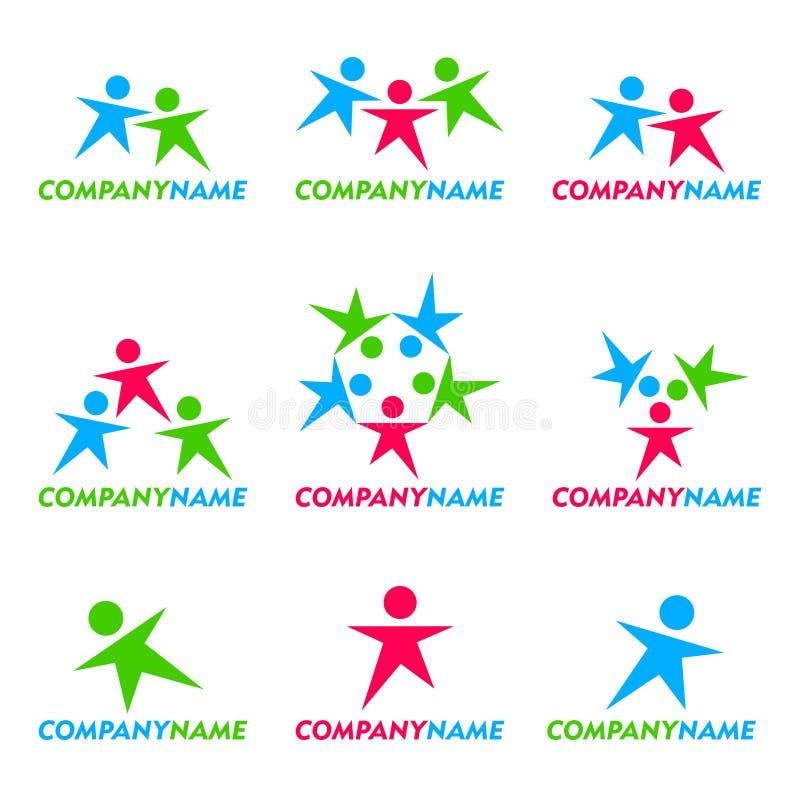 Ícone dos povos e projeto do logotipo ilustração stock