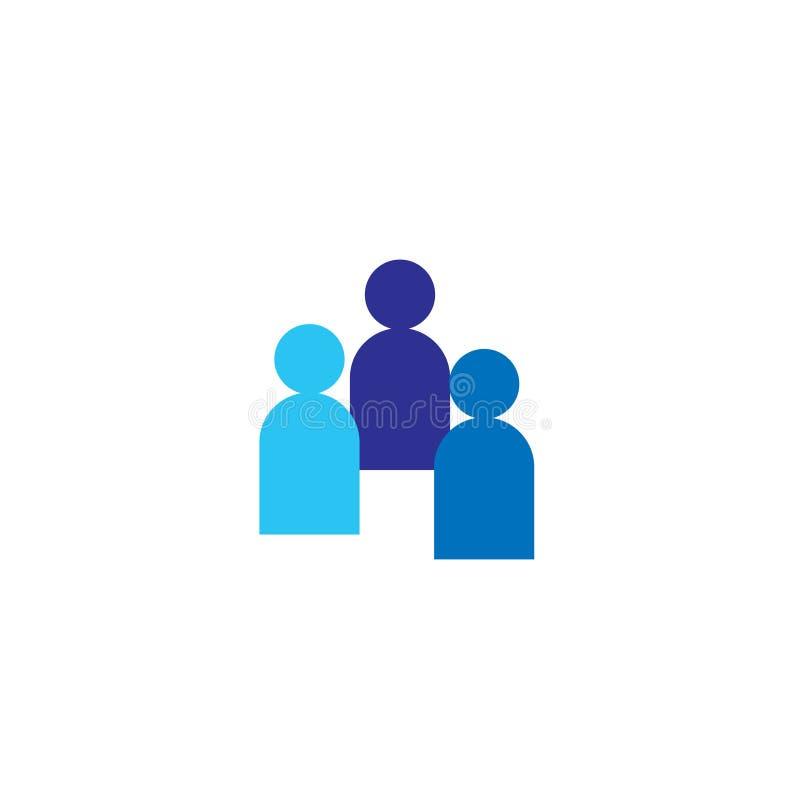 Ícone dos povos Equipe incorporada do negócio que trabalha junto Símbolo social do logotipo do grupo da rede Sinal da multidão Co ilustração royalty free