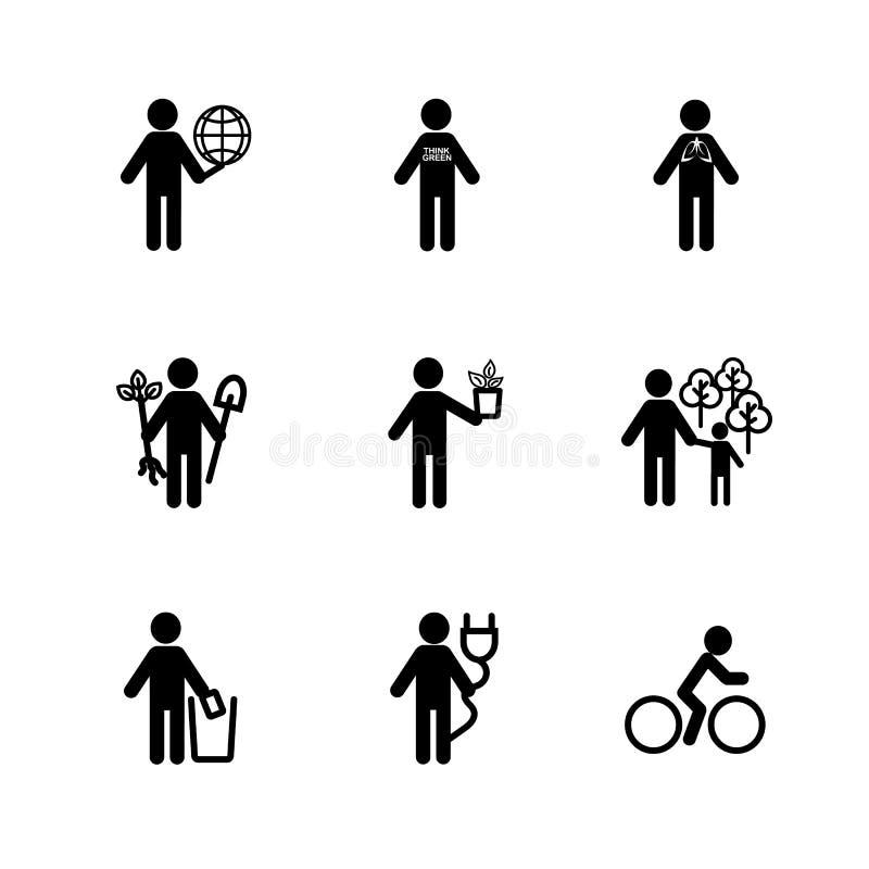 Ícone dos povos no assunto da ecologia O símbolo para o negócio Infographic, projeto na ilustração do pictograma ilustração stock