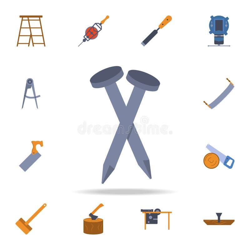 ícone dos pregos da construção da cor Grupo detalhado de ferramentas da construção da cor Projeto gráfico superior Um dos ícones  ilustração royalty free