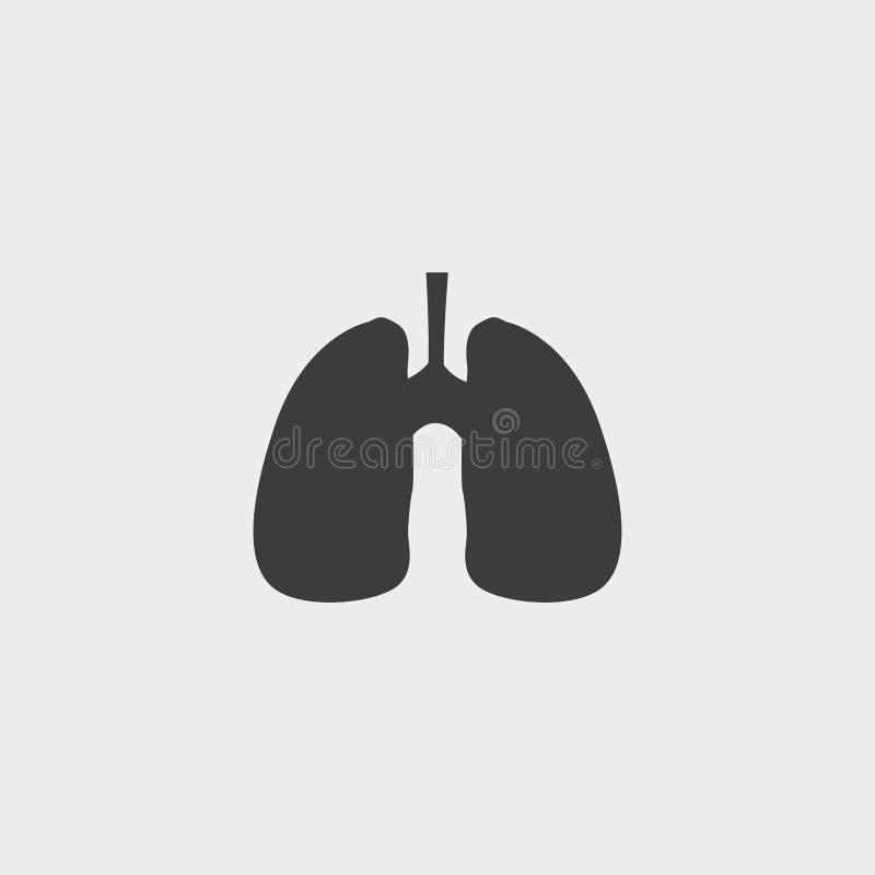 Ícone dos pulmões em um projeto liso na cor preta Ilustração EPS10 do vetor ilustração royalty free
