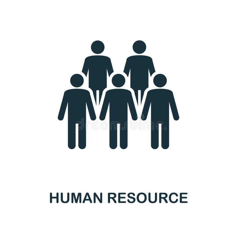 Ícone dos recursos humanos Projeto monocromático do ícone do estilo da coleção do ícone da gestão do projeto Ui Ilustração do íco ilustração stock