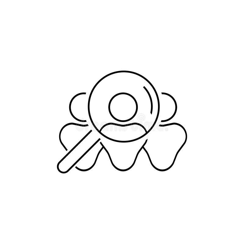 Ícone dos recursos humanos, sinal linear do recruta isolado no fundo branco - vetor editável ilustração royalty free