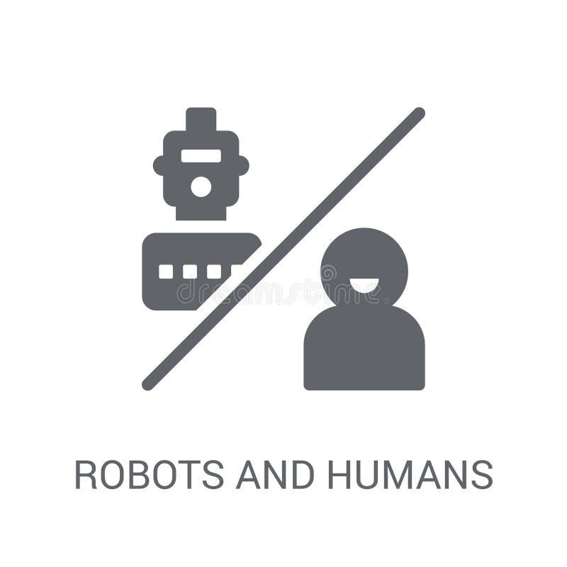 Ícone dos robôs e dos seres humanos  ilustração do vetor