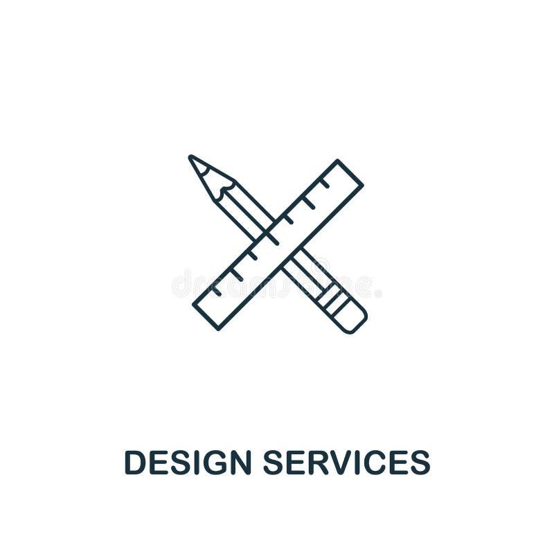 Ícone dos serviços de design Estilo fino do esboço do ui do projeto e da coleção dos ícones do ux Ícone criativo dos serviços de  ilustração do vetor