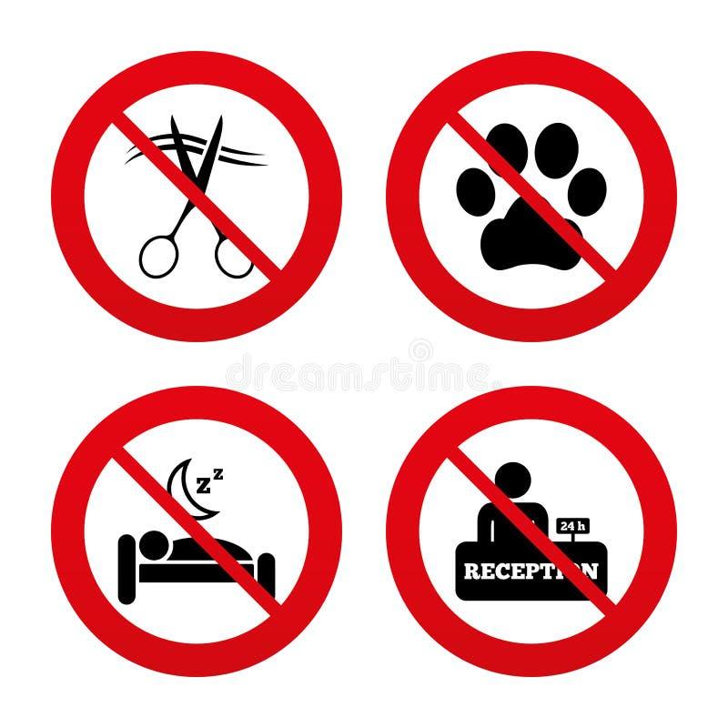 Ícone dos serviços de hotel Animais de estimação permitidos, cabeleireiro ilustração do vetor