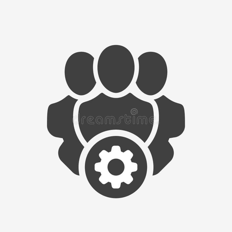 Ícone dos serviços profissionais com sinal dos ajustes O ícone dos serviços profissionais e personaliza, setup, controla, process ilustração stock