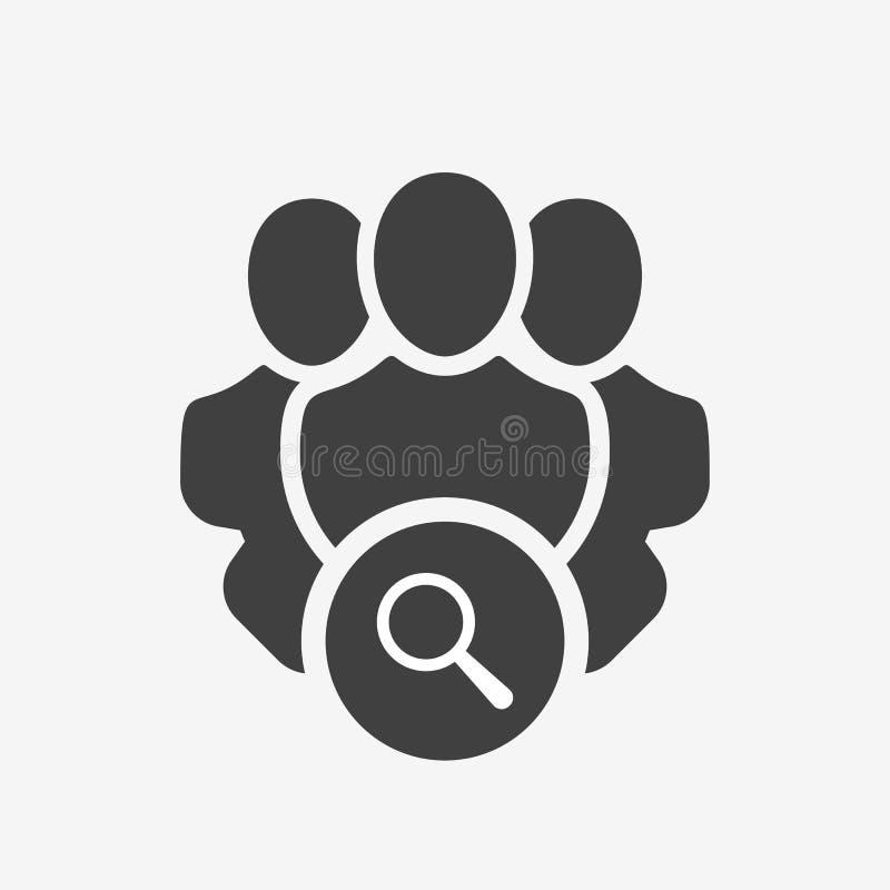 Ícone dos serviços profissionais com sinal da pesquisa O ícone dos serviços profissionais e explora, encontra, inspeciona o símbo ilustração stock