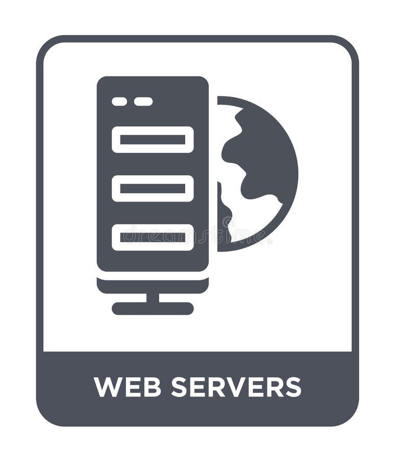 ícone dos servidor da web no estilo na moda do projeto ícone dos servidor da web isolado no fundo branco ícone do vetor dos servi ilustração royalty free
