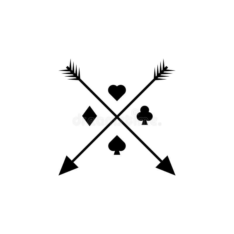 ícone dos sinais e das setas do cartão Elemento do ícone da tatuagem para apps móveis do conceito e da Web O ícone dos sinais e d ilustração royalty free