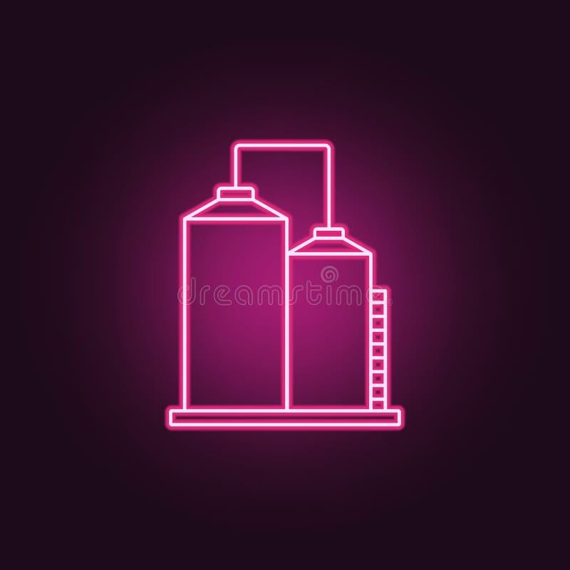 ícone dos tanques da produção Elementos da fabricação nos ícones de néon do estilo Ícone simples para Web site, design web, app m ilustração royalty free