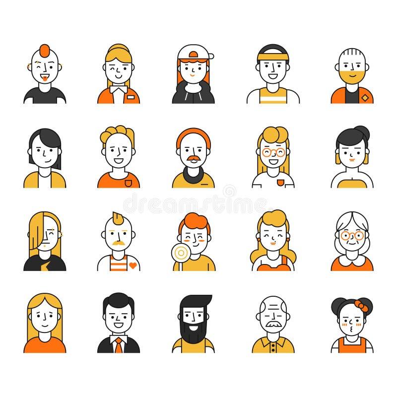 Ícone dos usuários ajustado no estilo linear Vários caráteres engraçados masculinos e fêmeas ilustração royalty free
