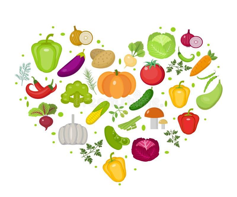 Ícone dos vegetais ajustado na forma do coração Estilo liso Isolado no fundo branco Estilo de vida saudável, vegetariano, dieta d ilustração stock