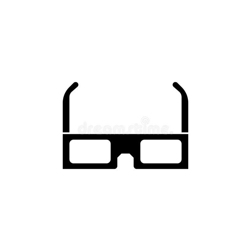 ícone dos vidros 3D isolado no branco Ilustração do vetor ícone dos vidros 3D Elemento de observação do projeto do filme de filme ilustração do vetor
