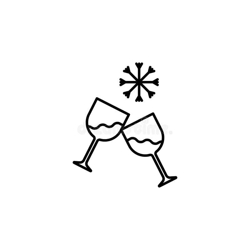 Ícone dos vidros do champanhe do vetor Celebração, feriados, conceitos do brinde Duas flautas de champanhe Projeto gráfico da qua ilustração royalty free