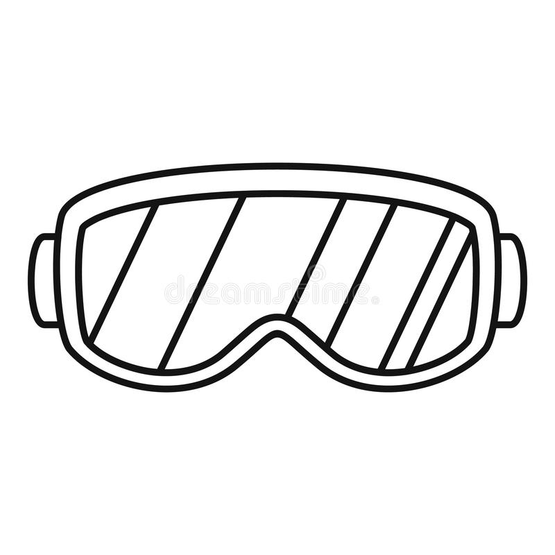 Ícone dos vidros do esqui, estilo do esboço ilustração royalty free