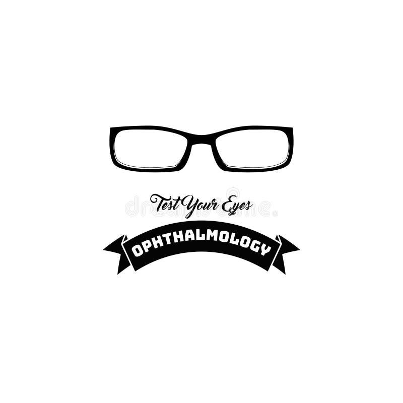 Ícone dos vidros do olho Logotipo da oftalmologia Crachá do teste da visão Emblema da clínica de olho Eyeglasses Vetor ilustração royalty free