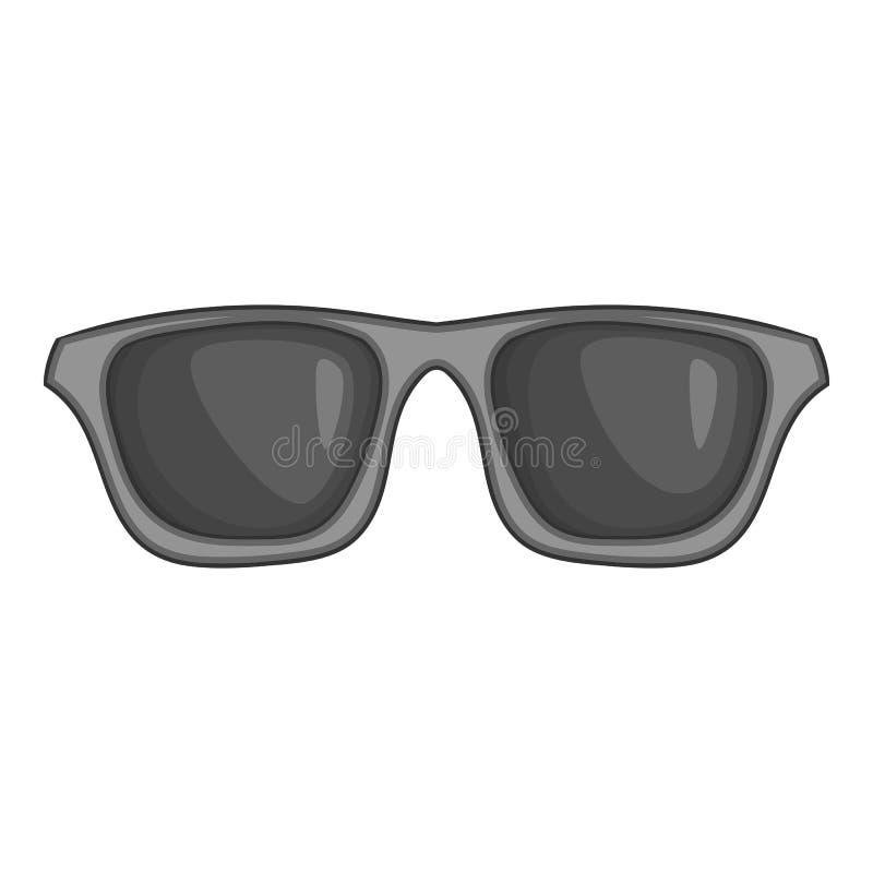 Ícone dos vidros do verão, estilo monocromático preto ilustração stock