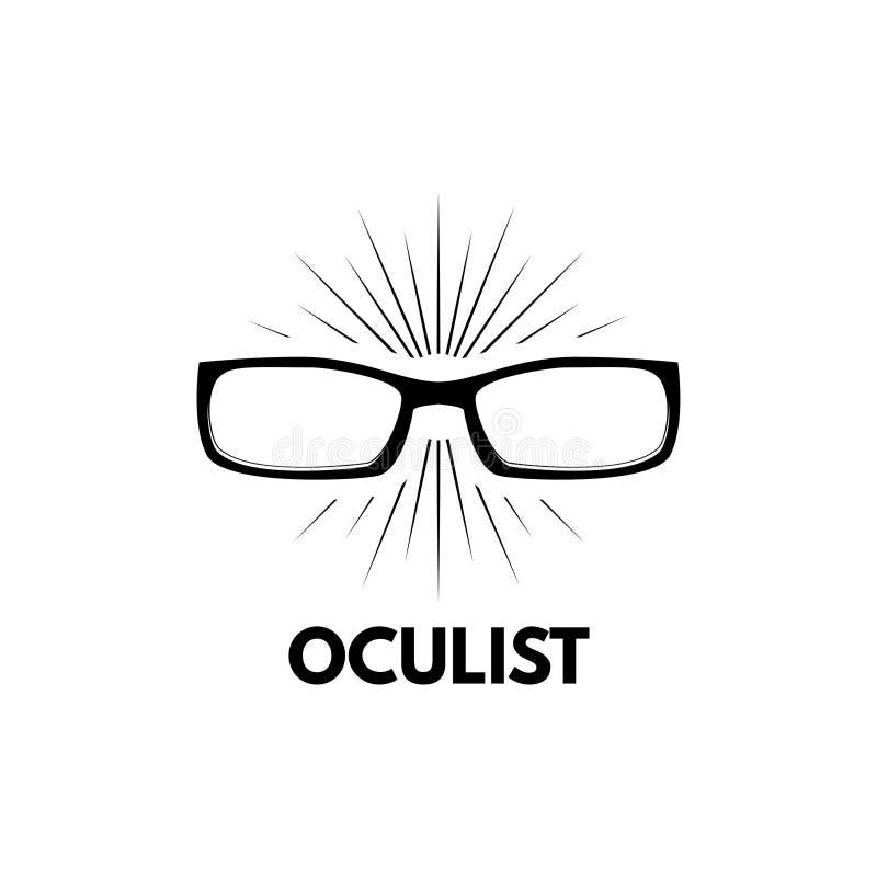Ícone dos vidros Etiqueta do logotipo do oculista Eyeglasses Crachá médico ótico Vetor ilustração stock