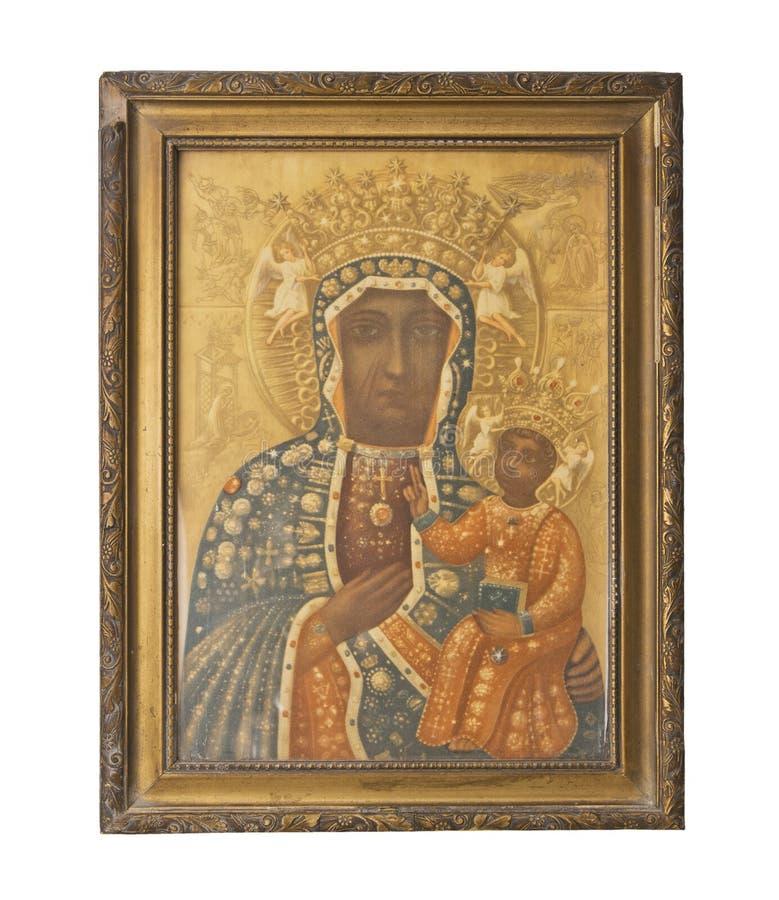 Ícone dourado antigo da mãe do deus Símbolo da religião fotos de stock