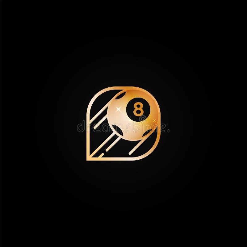 Ícone dourado brilhante brilhante do logotipo do casino com a bola oito ilustração royalty free