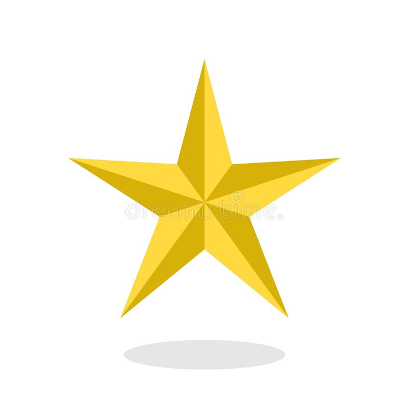 Ícone dourado da estrela com a sombra da gota no estilo liso isolada no branco ilustração royalty free