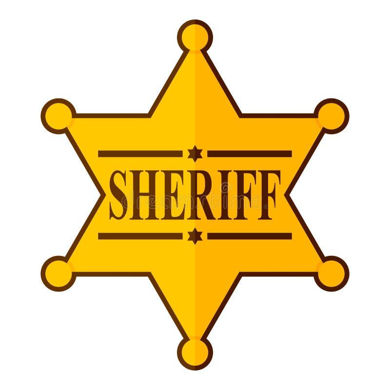 Ícone dourado de Star Badge Flat do xerife no branco ilustração do vetor