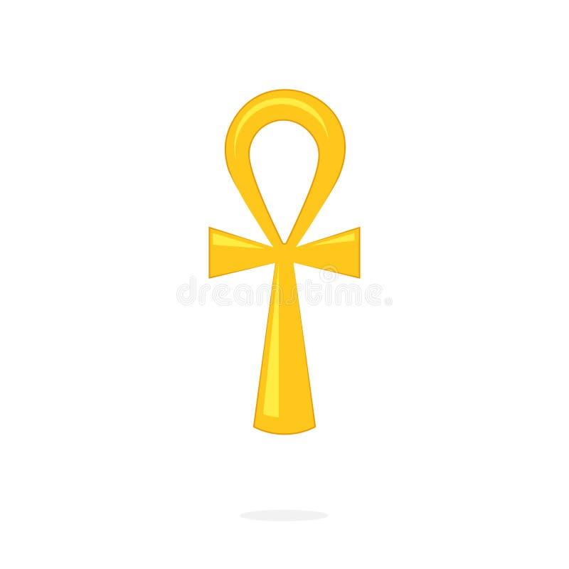 Ícone dourado do ankh ilustração royalty free