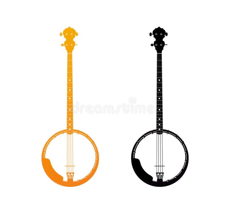 Ícone dourado do banjo ilustração royalty free
