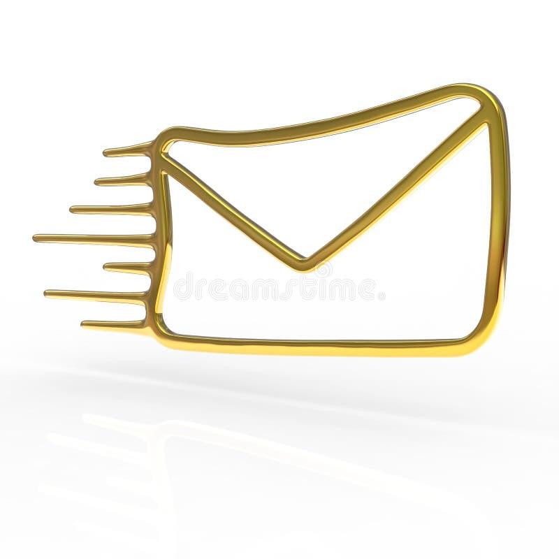 Ícone dourado do correio ilustração do vetor