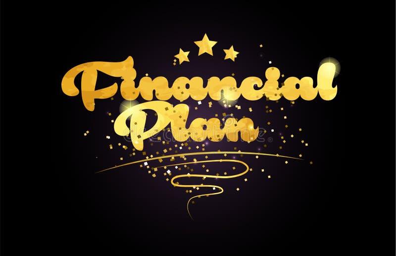 ícone dourado do logotipo do texto da palavra da cor da estrela financeira do plano ilustração royalty free