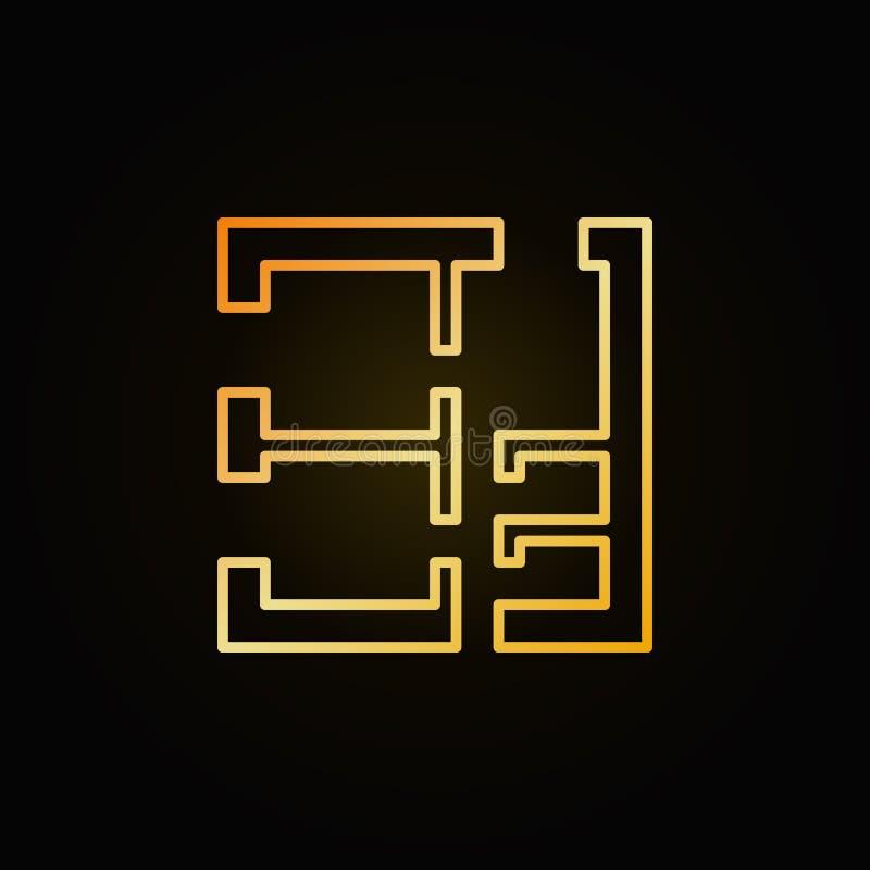 Ícone dourado do plano da casa ilustração do vetor