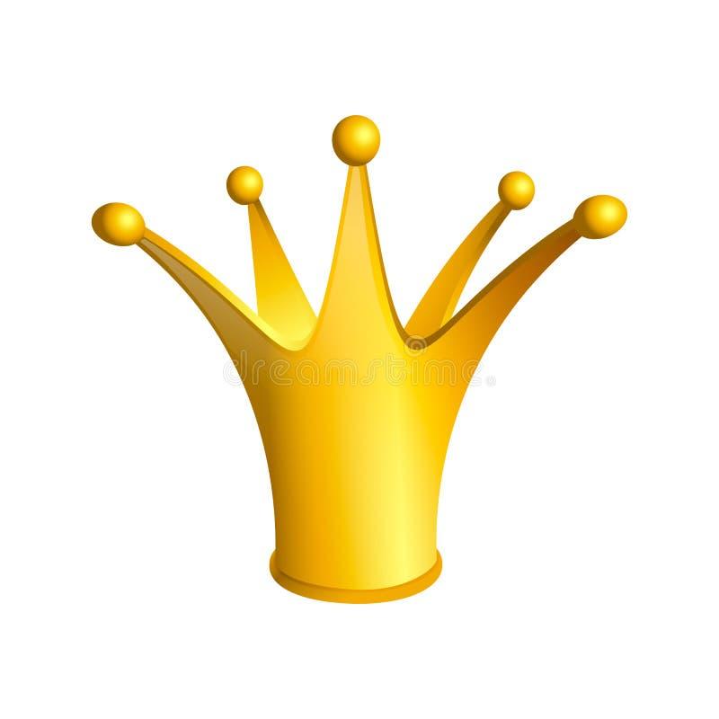 ?cone dourado do vetor dos desenhos animados da coroa Joia real do vetor para o monarca Rei Gueen pr?ncipe Princesa ilustração do vetor