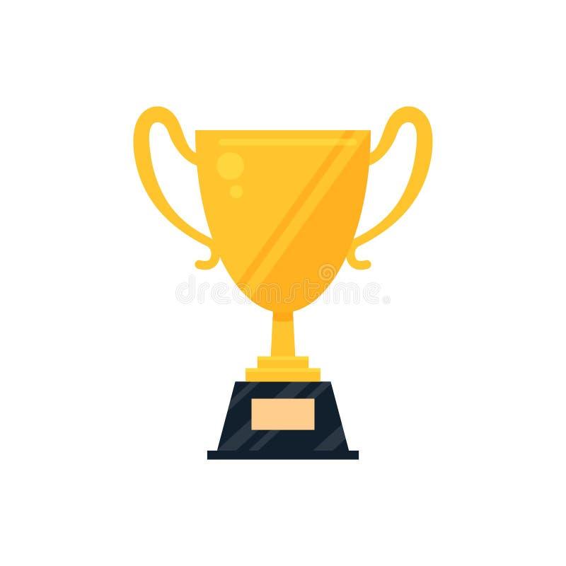 Ícone dourado liso do copo do troféu com a placa de identificação isolada no fundo branco Mundo do símbolo, do futebol ou do golf ilustração do vetor