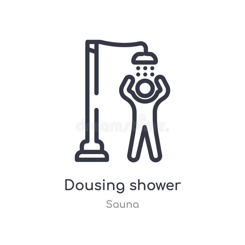 ícone dousing do esboço do chuveiro linha isolada ilustra??o do vetor da cole??o da sauna ícone dousing do chuveiro do curso fino ilustração royalty free