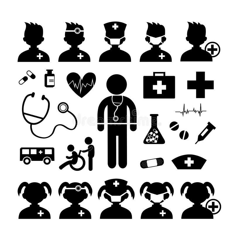 Ícone e hospital do doutor ilustração royalty free