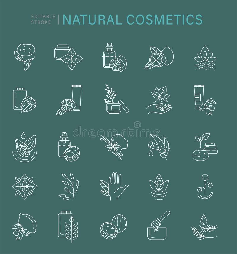 Ícone e logotipo do vetor para cosméticos naturais e para importar-se a pele seca ilustração stock