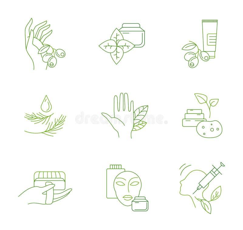 Ícone e logotipo do vetor para cosméticos naturais e para importar-se a pele seca ilustração do vetor