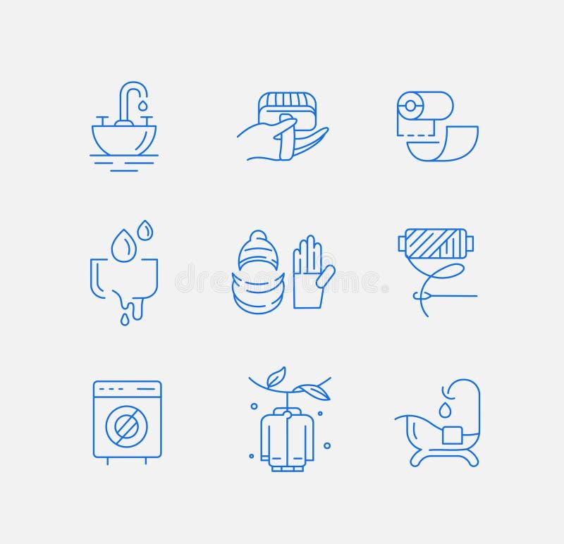 Ícone e logotipo do vetor para a lavanderia e clinning seco Curso editável do esboço ilustração do vetor