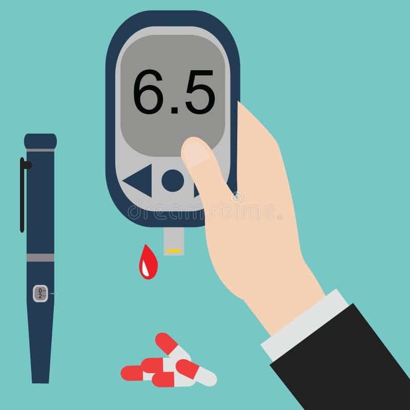 Ícone e vetor do diabetes Glicemia TestHand que guarda o medidor da glicose ilustração royalty free